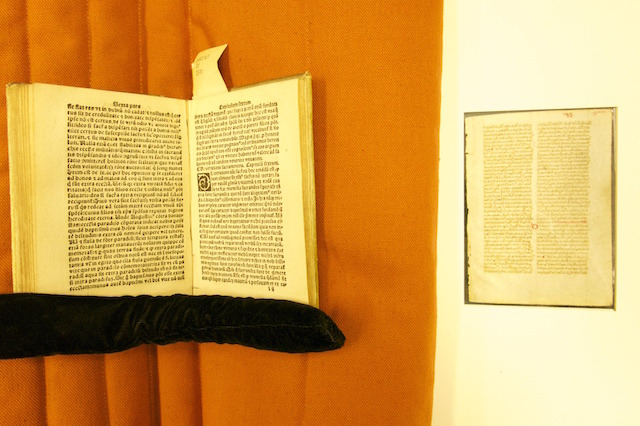 Our leaf alongside a printed leaf circa 1500, open to the page with the same content!